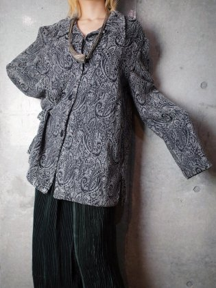 古着 通販 ヴィンテージ シルバーグレー ペイズリー 織り柄 ジャケット Silver Gray Paisley Woven Jacket