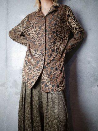 古着 通販 ヴィンテージ ゴールド アラベスク柄 ベルベットシャツ Gold Arabesque Velvet Shirt