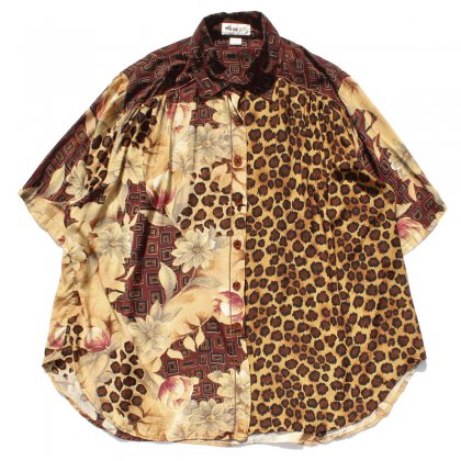 古着 通販 ヴィンテージ S/S レーヨン アートプリント シャツ【WE BE BOP】【1980's -】Flower & Leopard