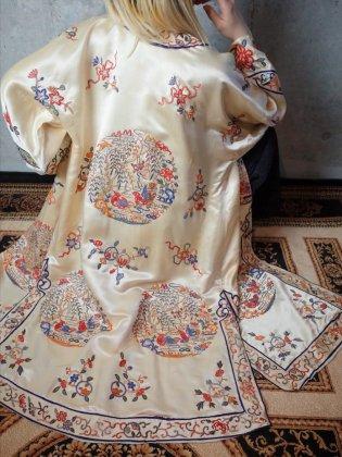 古着 通販 ヴィンテージ チャイナ刺繍シルク マンダリンガウン 1920年代 Beautiful Silk Embroidery China Gown c.1920s