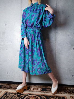 古着 通販 ヴィンテージ エメラルドグリーン ペイズリー柄 ワンピース Emerald Green Paisley Dress