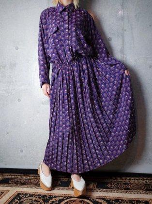 古着 通販 ヴィンテージ ブロックペイズリー柄 ワンピース Block Paisley Navy Dress