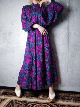 古着 通販 ヴィンテージ パープル×ターコイズ アラベスク柄 ワンピース Purple × Turquoise Arabesque Rayon Dress