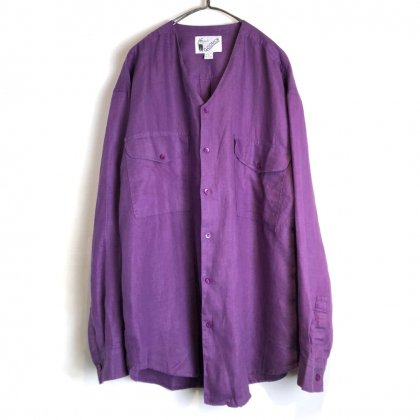 古着 通販 デッドストック グーチ【GOOUCH】ヴィンテージ カラーレス リネンシャツ【1990's】Dead Stock Collarless Shirt
