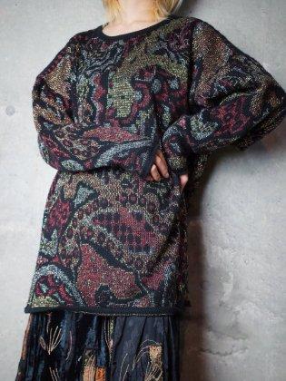 古着 通販 ヴィンテージ エキゾチック柄 グリッター ニットセーター Exotic Glitter Knit Sweater