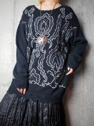 古着 通販 ヴィンテージ アラベスク刺繍 ニットセーター Arabesque Embroidery Black Knit Sweater