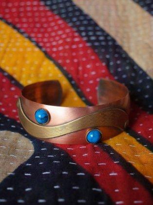 古着 通販 ヴィンテージ ターコイズ×銅×真鍮 モダンバングル Copper × Brass × Turquoise Modern Bangle