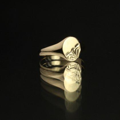 古着 通販 ヴィンテージ シグネット リング【Made in ENGLAND】【375 9ct Gold】Round Art Deco