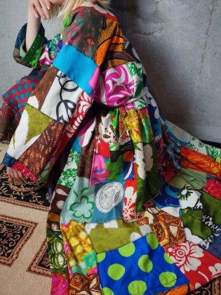 古着 通販 ヴィンテージ ハワイアン クレイジーパッチワーク ガウン 1960-70年代 Crazy Patchwork Gown c.1960-70s Hawaiian Textile