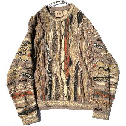 古着 通販 クージー【COOGI Classic】ヴィンテージ コットンリネン 3D クルーネックニット【1990's-】Vintage Crazy Knitting Crewneck Sweater