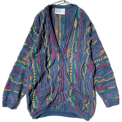 古着 通販 クージー【COOGI Blues】ヴィンテージ コットン 3D カーディガン【1990's-】Vintage Crazy Knitting Cardigan