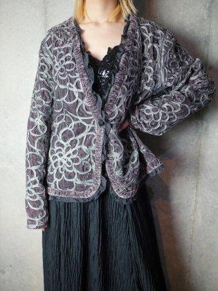 古着 通販 ヴィンテージ シルバーグレーベルベット 刺繍&フリル カーディガン Silver Gray Embroidery Frill Cardigan
