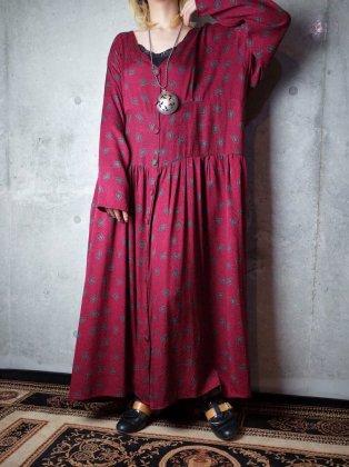 古着 通販 ヴィンテージ 小紋柄 シルク 前開き ワンピース Classical Pattern Silk Front Open Dress