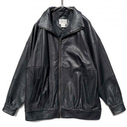 古着 通販 ヴィンテージ ドロップショルダー ハイネック レザージャケット【1990's】Vintage Drop Shoulder Hi-Neck Leather Jacket