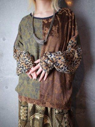 古着 通販 ヴィンテージ オリエンタル柄×レオパード 切替 カットソー Oriental People × Leopard Switch Cut & Saw