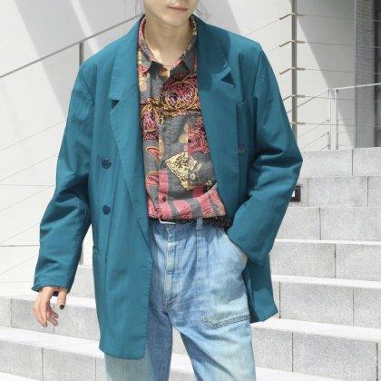 古着 通販 Double Breasted Jacket × Art Pattern Shirts,Flare Denim Pants
