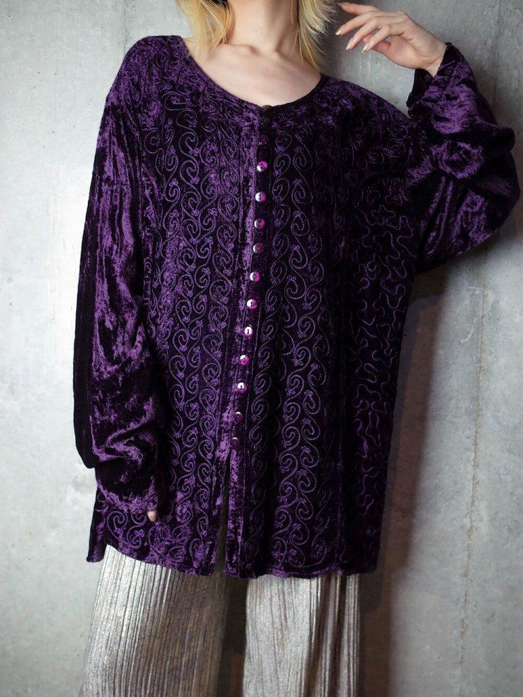 古着 通販 ヴィンテージ ディープパープル 刺繍 レーヨンベルベット ブラウス Deep Purple Embroidery Rayon Velvet Blouse