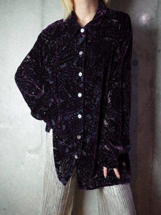 古着 通販 ヴィンテージ ディープパープル ペイズリー レーヨンベルベット/シアー シャツ Deep Purple Paisley Velvet/Sheer Shirt