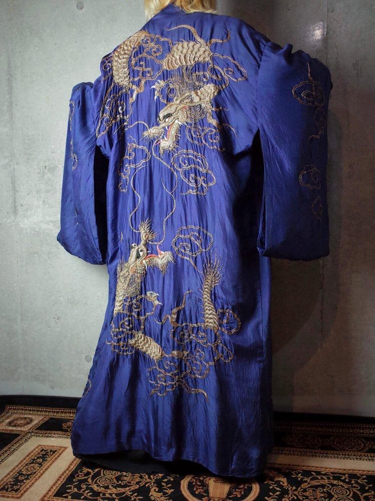 古着 通販 ヴィンテージ 龍 刺繍 シルク ガウン ローブ 1920年代 Navy/Gold Dragon Embroidery Silk Gown c.1920s