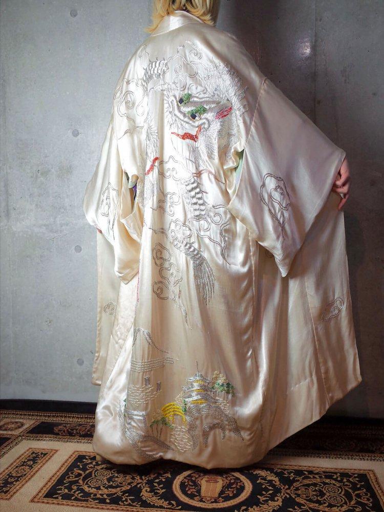古着 通販 ヴィンテージ 龍 刺繍 シルク ガウン ローブ 1920年代 White/Silver Dragon Embroidery Silk Gown c.1920s