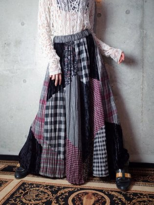 古着 通販 ヴィンテージ チェック×花柄 パッチワークスカート Plaid & Flower Patchwork Skirt