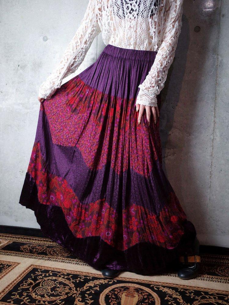 古着 通販 ヴィンテージ ペイズリー×花柄 パープルレーヨン 切替スカート Paisley & Flower Purple Rayon Switch Skirt