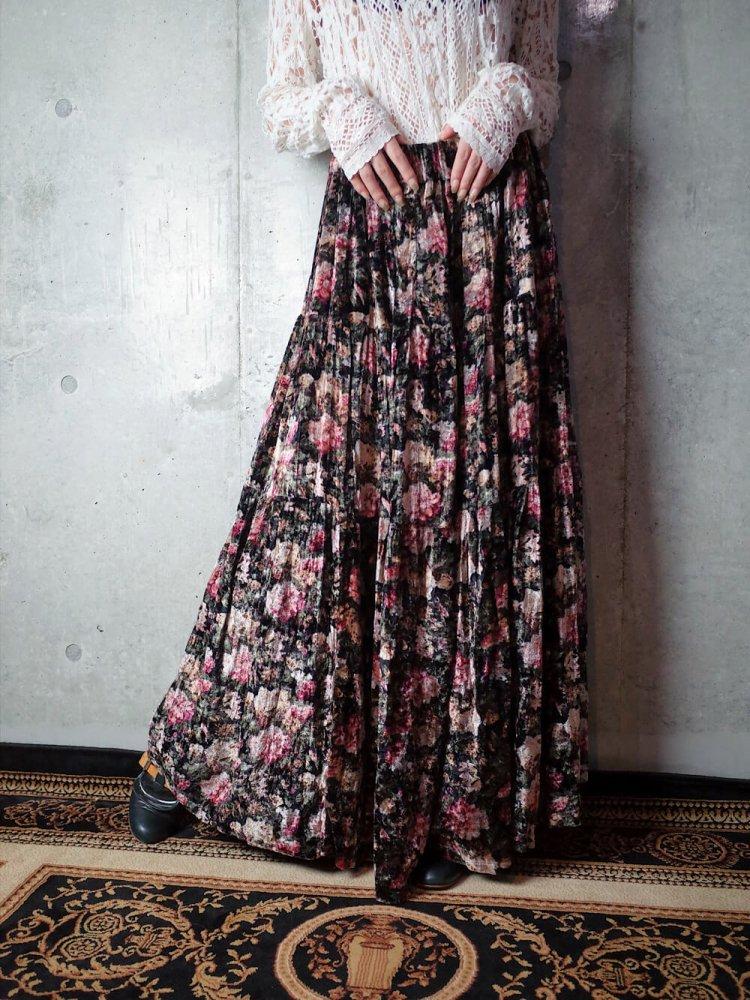 古着 通販 ヴィンテージ 花柄 レーヨンベルベット ティアードスカート Flower Rayon Velvet Tiered Skirt
