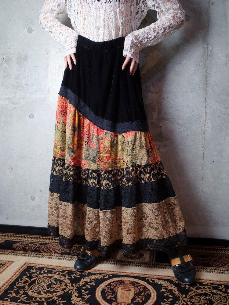 古着 通販 ヴィンテージ レース&ベルベット 切替スカート Lace & Velvet Switch Skirt