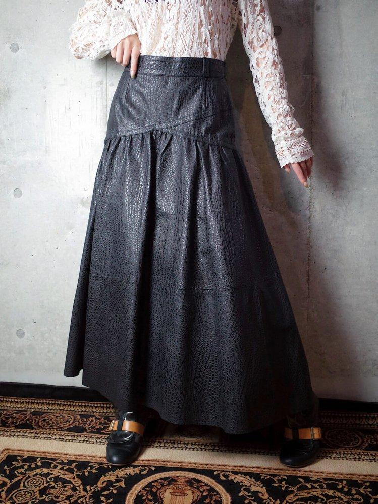 古着 通販 ヴィンテージ 型押しレザー スカート Emboss Black Leather Skirt
