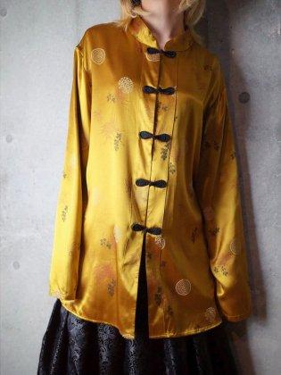 古着 通販 ヴィンテージ イエローレーヨンサテン チャイナシャツ Yellow Rayon Satin China Shirt