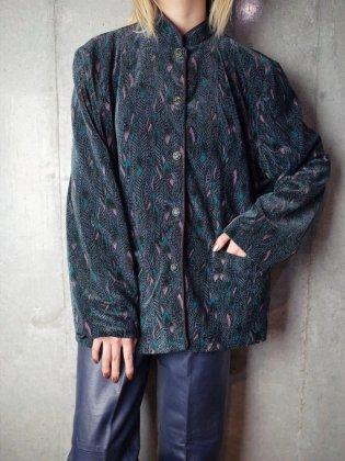 古着 通販 ヴィンテージ フェザー柄ベルベット マオカラー ジャケット Feather Velvet Mao Collar Jacket