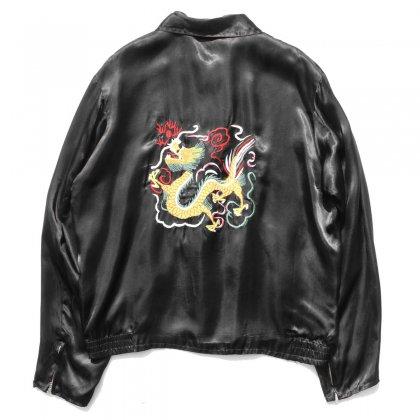古着 通販 ヴィンテージ スーベニア ジャケット 【1950's-】レーヨン サテン ブラック - ドラゴン