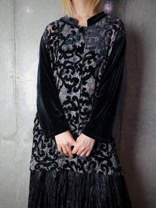 古着 通販 ヴィンテージ アラベスク柄 ベルベット/シアー マオカラー ブラウス Arabesque Velvet/Sheer Mao Collar Blouse