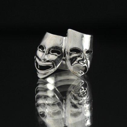 古着 通販 ヴィンテージ トゥーフェイス シルバー リング【2Face theater masks 】【STERLING】#12.5