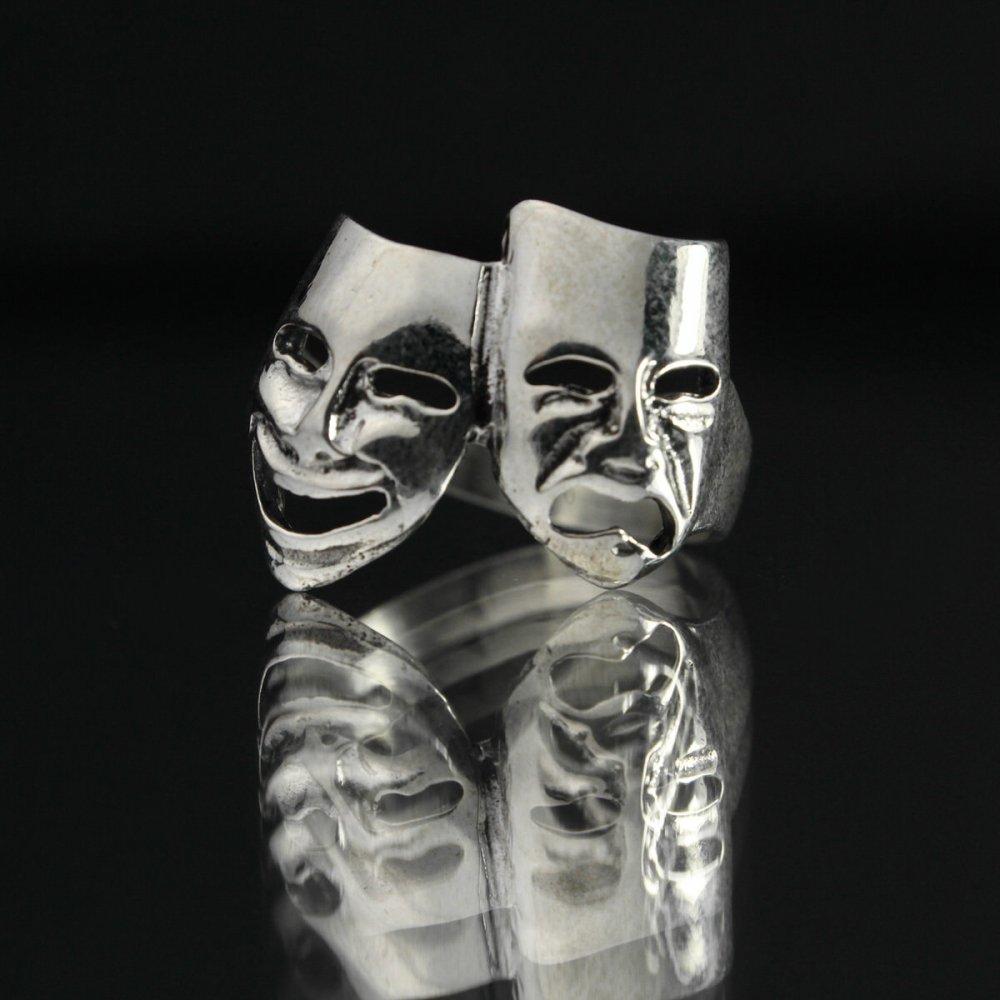 古着 通販 ヴィンテージ トゥーフェイス シルバー リング【2Face theater masks 】【STERLING】#19.5