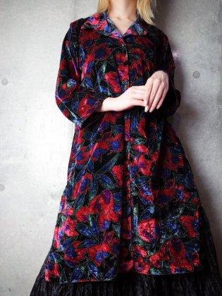 古着 通販 ヴィンテージ 花柄 ベルベット ロングシャツ Flower Velvet Long Shirt