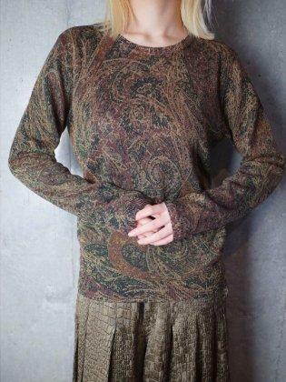 """古着 通販 ヴィンテージ """"Ralph Lauren ラルフローレン"""" シルク カシミア ニットトップス """"Ralph Lauren"""" Silk × Cashmere Paisley Knit Tops"""