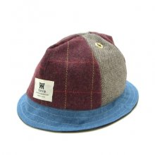 TONBOW<br /><br />JUNGLE MIX HAT <br />-BURGUNDY CHECK-