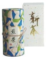新茶5 特上新茶 型染め和紙缶1本(青)
