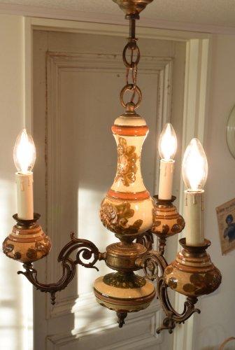 手彩色の陶器 シャンデリア 3灯(送料込み)