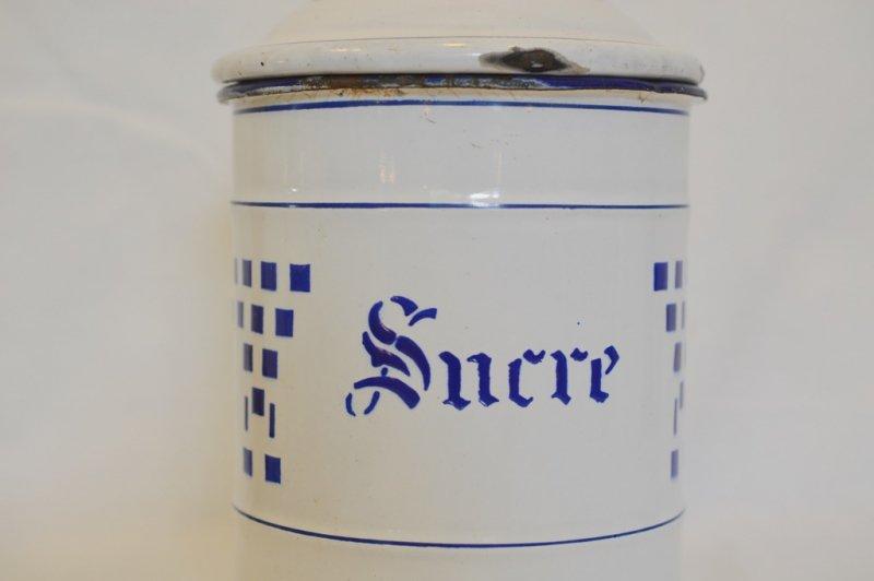 琺瑯製キャニスター ブルーチェック柄 Sucre