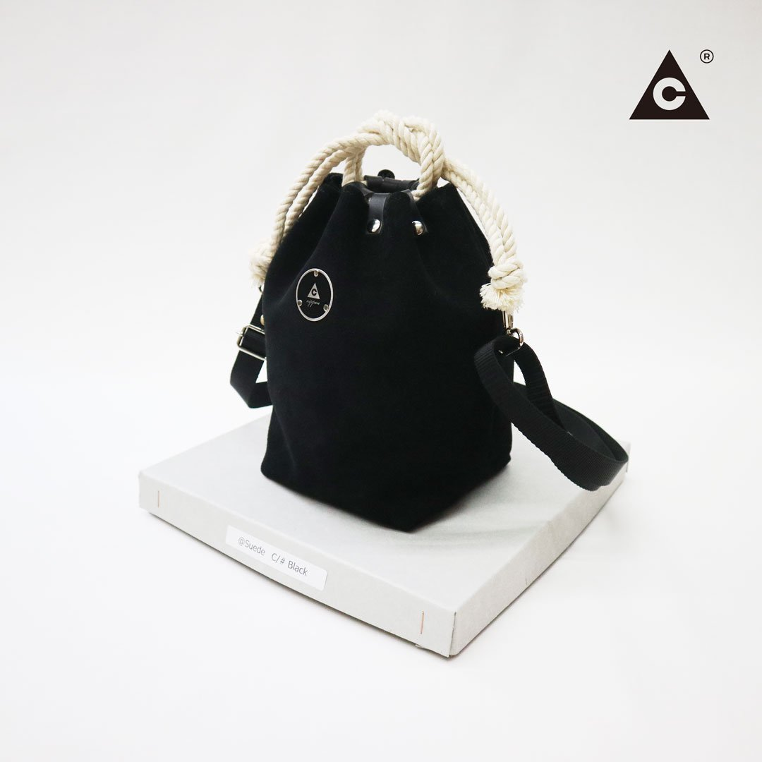 "KOMUSUBI BAG ""Leather"" -Italian Suede Black-"