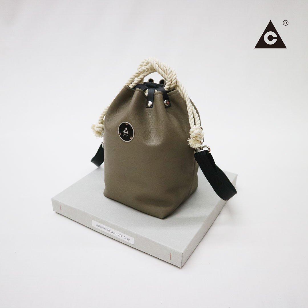 "KOMUSUBI BAG ""Leather"" -Italian Natural Gray-"