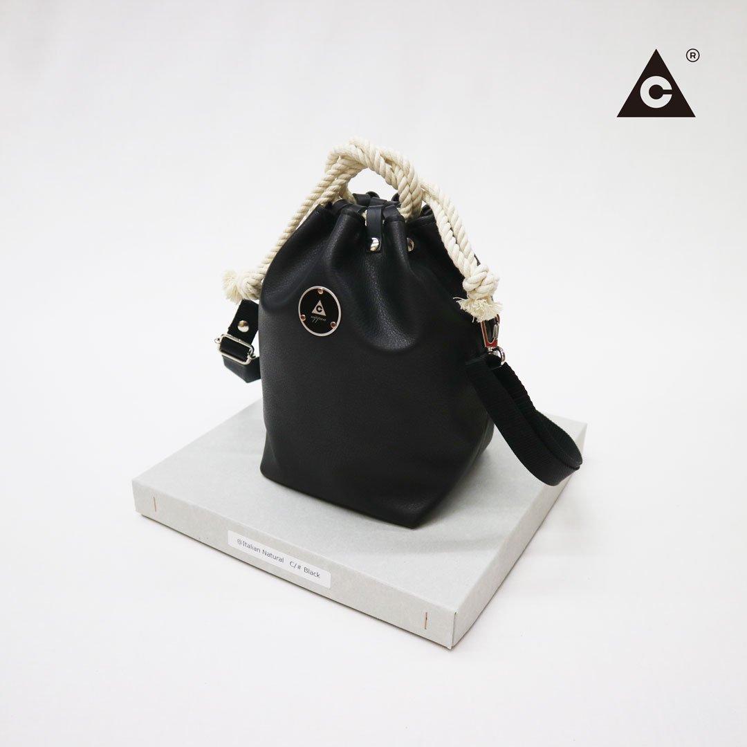 """KOMUSUBI BAG """"Leather"""" -Italian Natural Black-"""