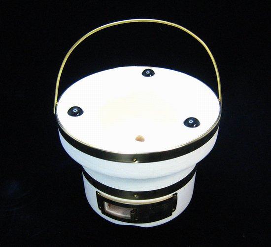朝顔七輪 真ちゅう巻  外寸:直径17m×高さ12.5cm (火皿あり、スチール網1枚付)