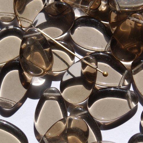 チェコビーズ  <フラットドロップ/7x10/ブラックダイヤモンド>