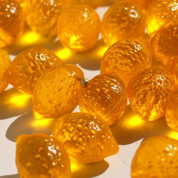チェコガラスビーズ  <レモン/ゴールデンイエロークリア>20個