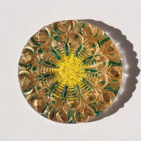 チェコガラスボタン  <バックフラット/イエローグリーンクリア>28mm