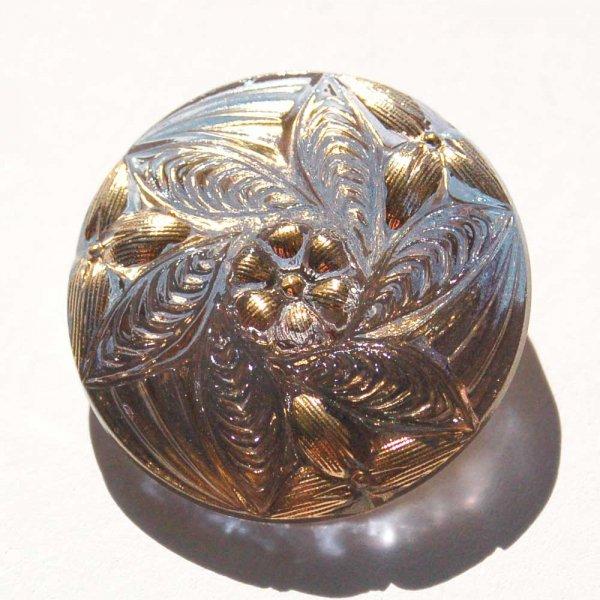 チェコガラスボタン  <ラウンド/スパイラルフラワーゴールドペイント>27mm