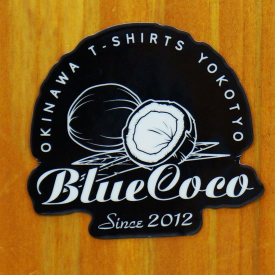Blue Cocoロゴ第二弾ステッカー(ヤシの実・白黒)版【販売ステッカー】